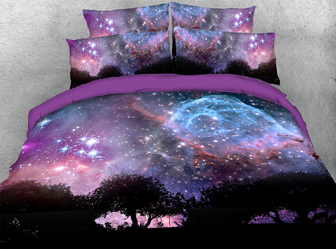 Purple Starry Sky 3D Galaxy Zipper Bedding Sets Colorfast Hard-wearing 4pcs Duvet Cover with Corner Ties