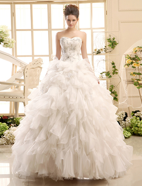 Milanoo Ball Gown Neck Applique Tulle Floor-Length Ivory Wedding Dress