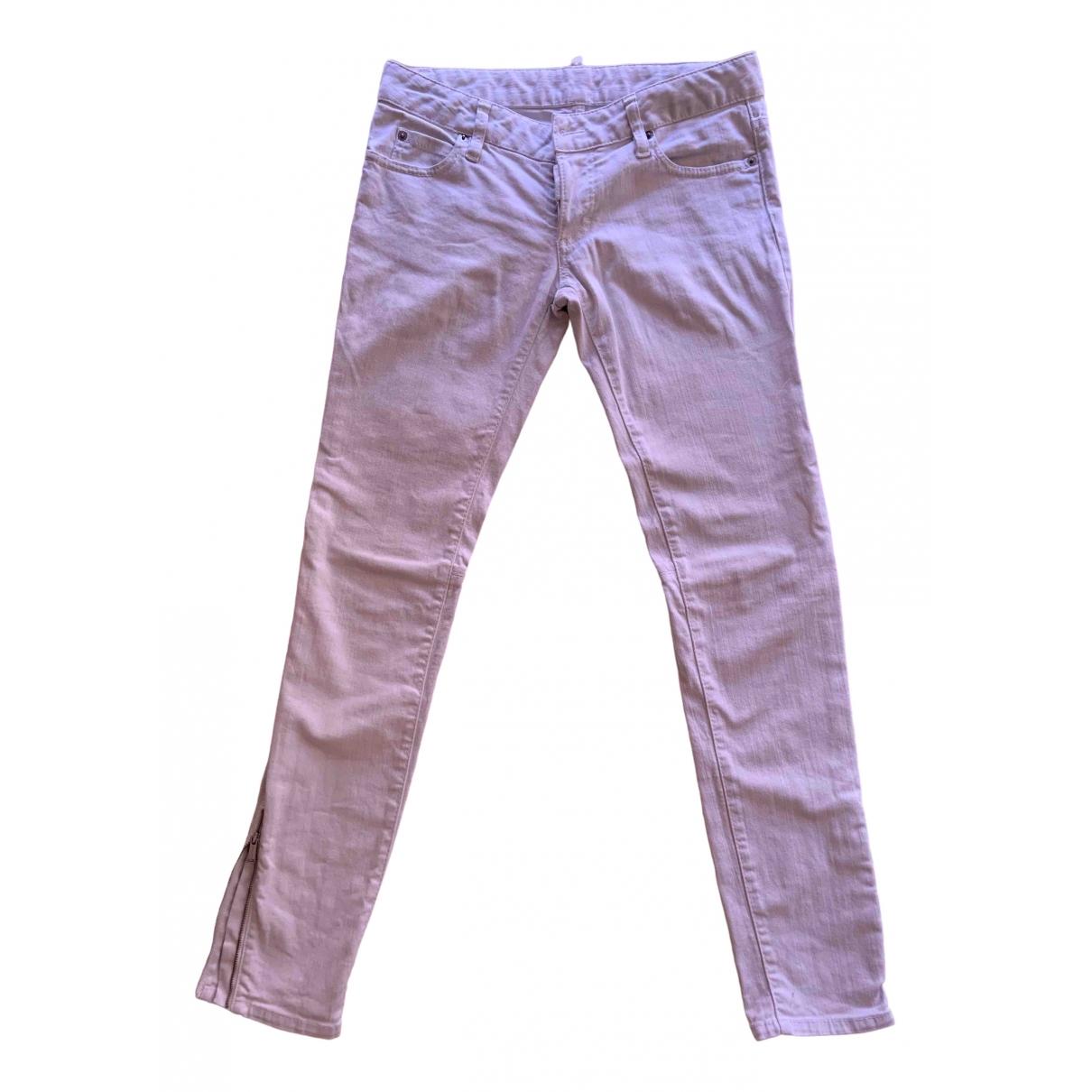 Dsquared2 \N White Cotton - elasthane Jeans for Women 38 FR