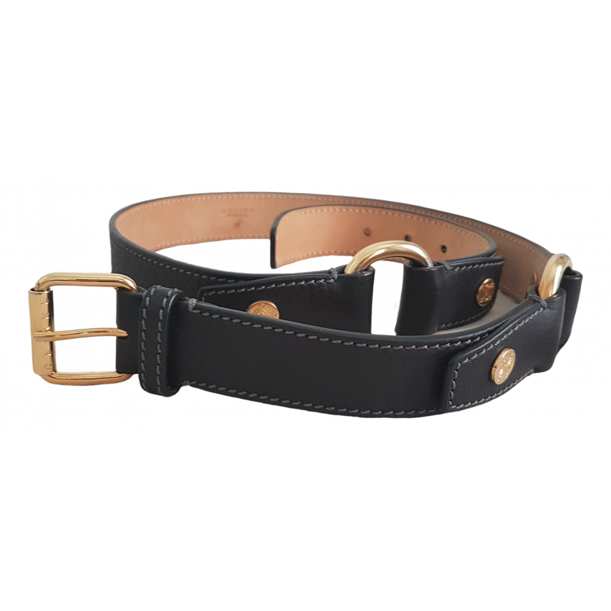 Celine Triomphe Black Leather belt for Women M International