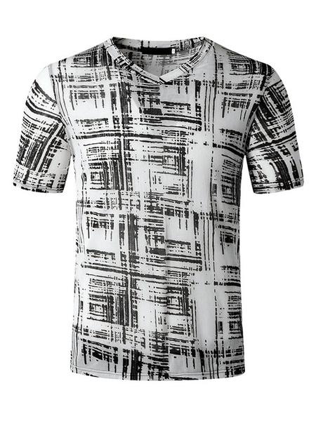 Milanoo Camisetas Cuello V Estampado Manga Corta Tee Tops