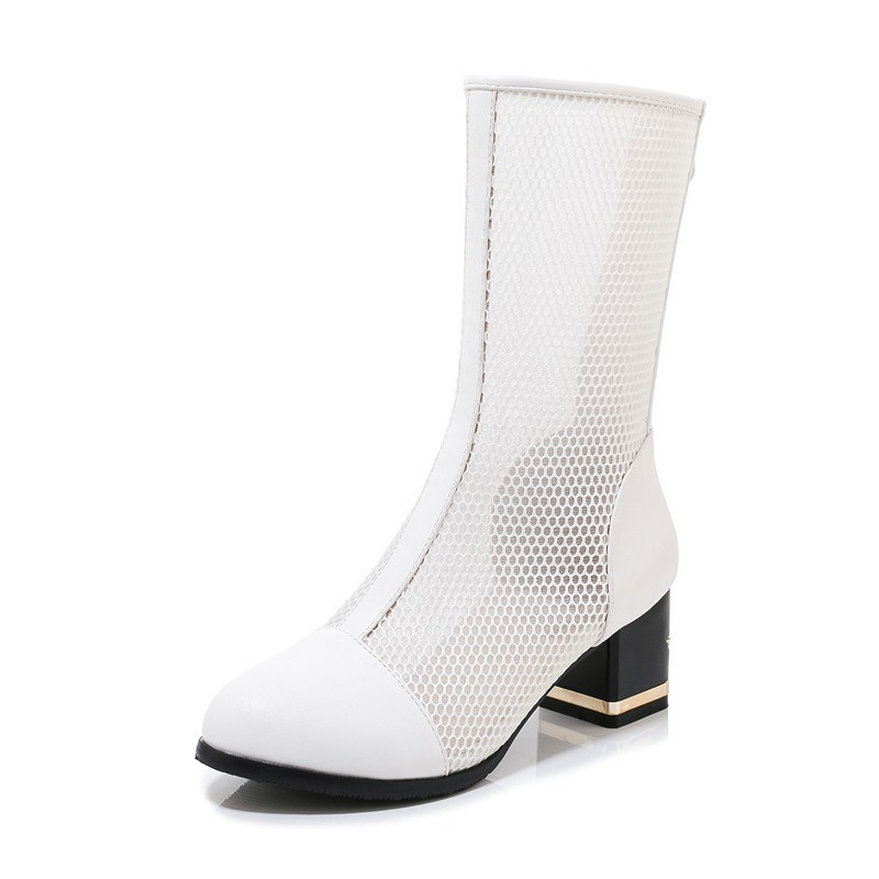Ericdress Chunky Heel Round Toe Back Zip PU Boots