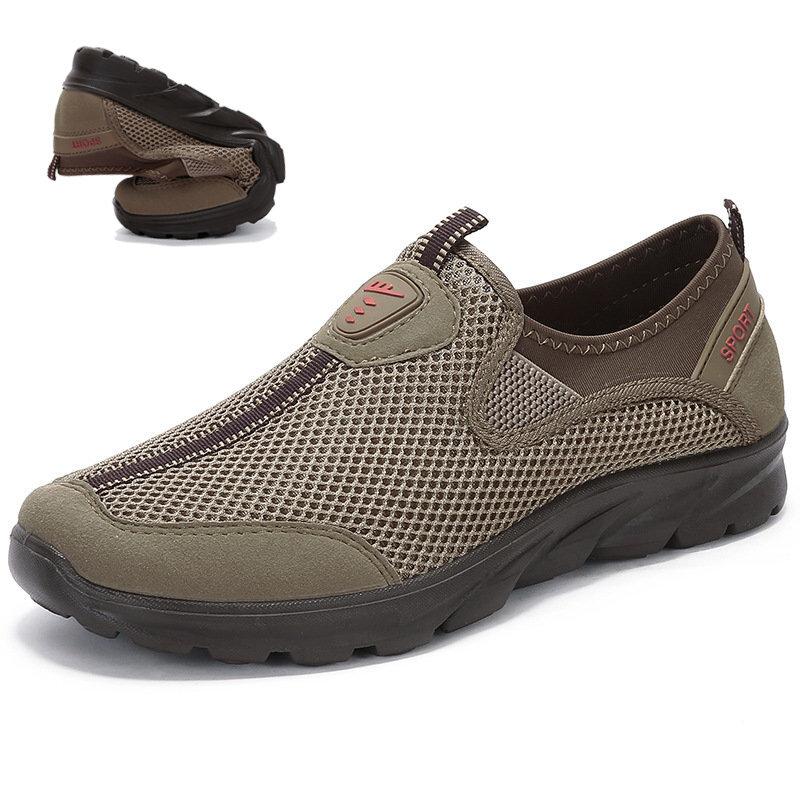 Large Size Men Mesh Breathable Soft Slip On Running Walking Sneakers