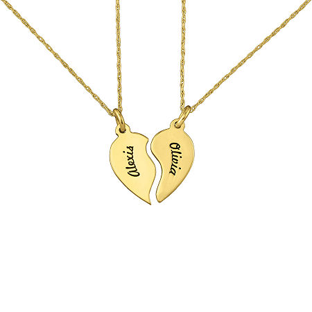 Personalized Best Friends Half-Heart Necklaces, One Size , Yellow