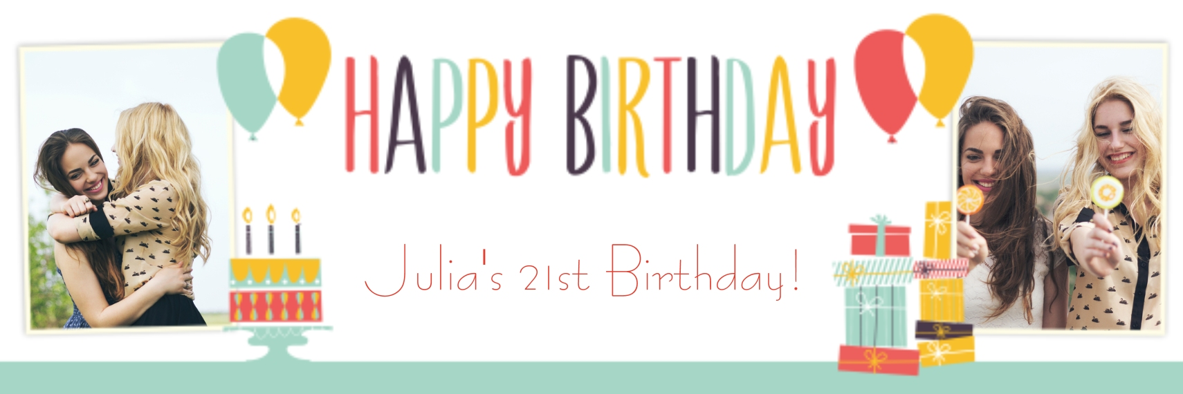 Birthday Photo Banner 2x6, Home Décor -Retro Shindig