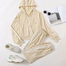 Contrast Striped Hooded Sweatshirt & Pants