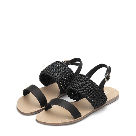 Yoins Black Casual Woven Leather Look Strap Buckle Flat Sandals