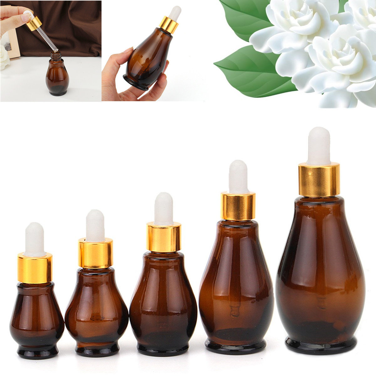 Refillable Glass Bottles 5Pcs/lot Amber Essence Oil Liquid Container Portable Dropper Bottle