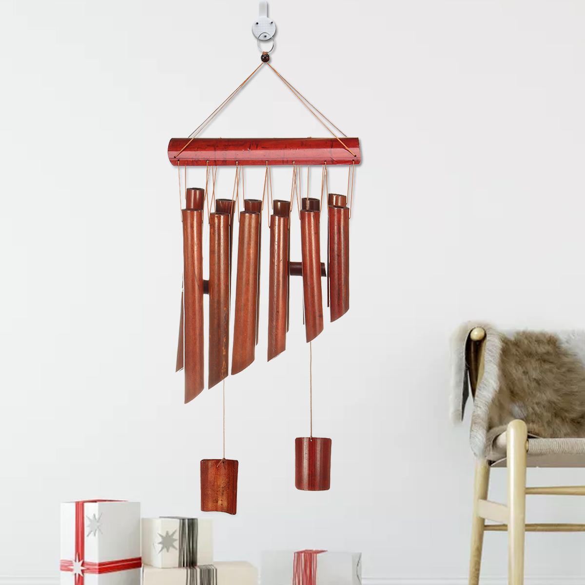 12 Tubes Bamboo Wind Chime Wooden Garden Yark Patio Home Decorations Hanging Ornament