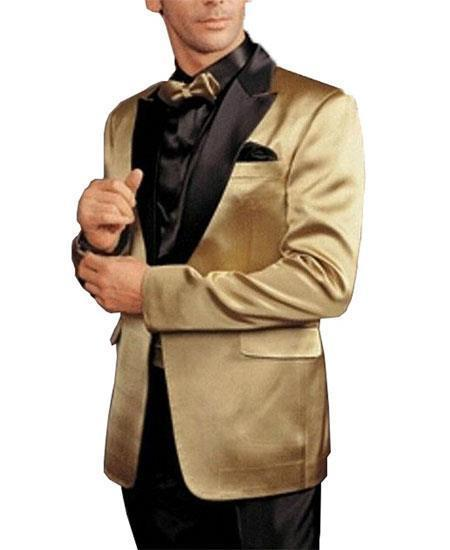 Mens Cheap Fashion big and tall Plus Size Blazer For Guys Gold