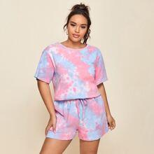 Plus Drop Shoulder Tie Dye Top & Shorts Set