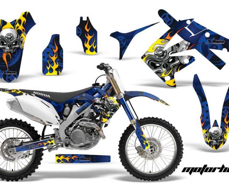 AMR Racing Dirt Bike Graphics Kit Decal Sticker Wrap For Honda CRF250R 2010-2013áMOTORHEAD BLUE