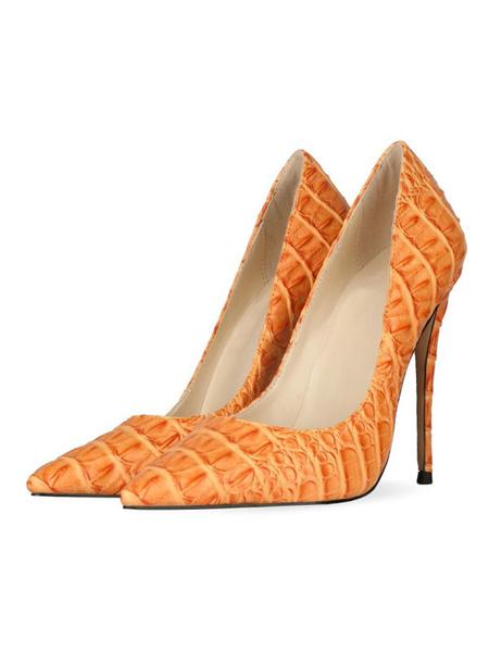 Milanoo Women High Heels Pointed Toe Stiletto Heel Sexy Deep Apricot Snakeskin Print Pumps