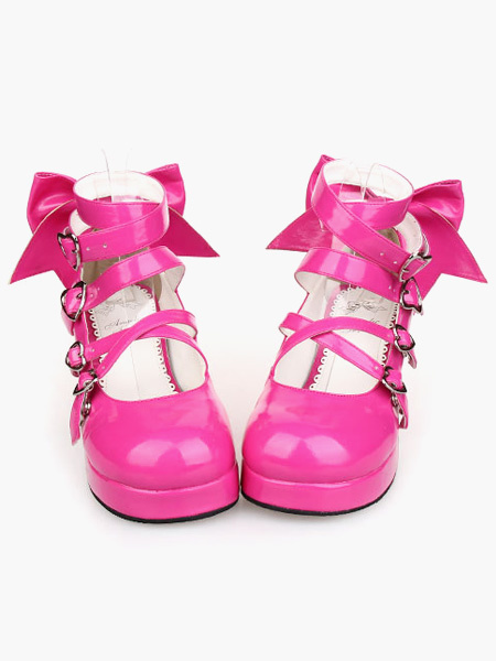 Milanoo Zapatos de Rosa Rojo Lolita Tacones Gruesos Zapatos Tirantes de tobillo Hebillas Lazo