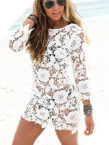 Milanoo Lace Beach Cover Up White Sheer Long Sleeve Sexy Bathing Suit For Women