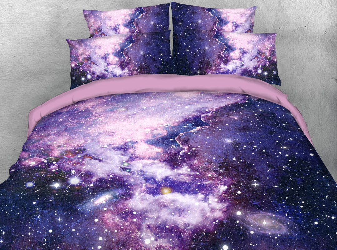 Starry Purple Sky 3D 4pcs Durable Galaxy Bedding Sets No-fading Soft Reactive Printing Zipper Duvet Cover with Ties