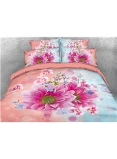 Vivilinen Fancy Pink and Blue Dasiy Printed 4-Piece 3D Bedding Sets/Duvet Covers