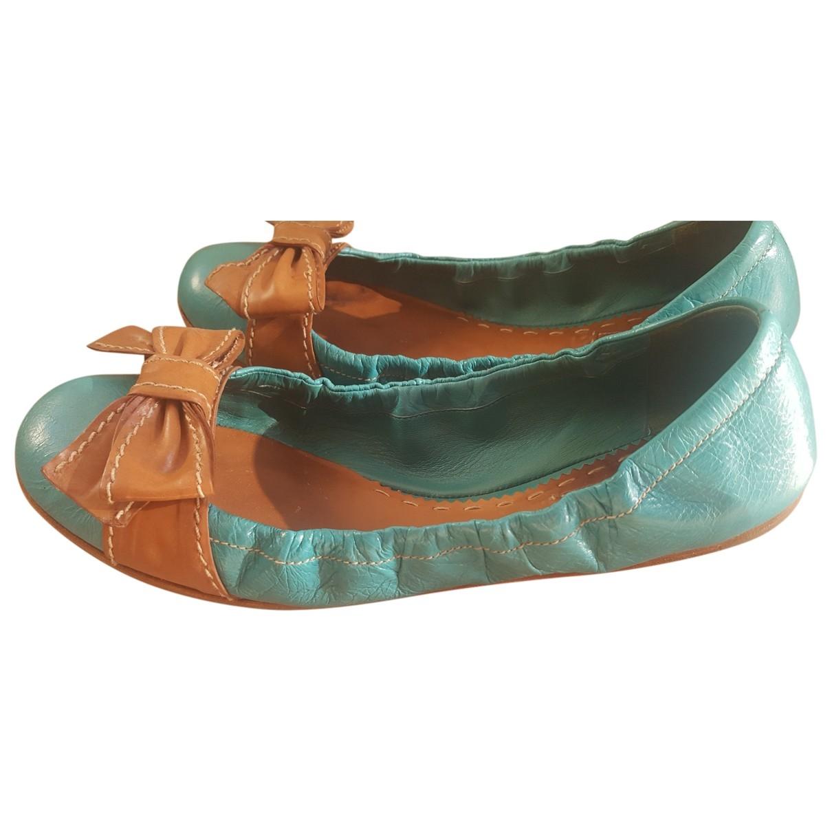 Prada \N Turquoise Leather Ballet flats for Women 40 EU