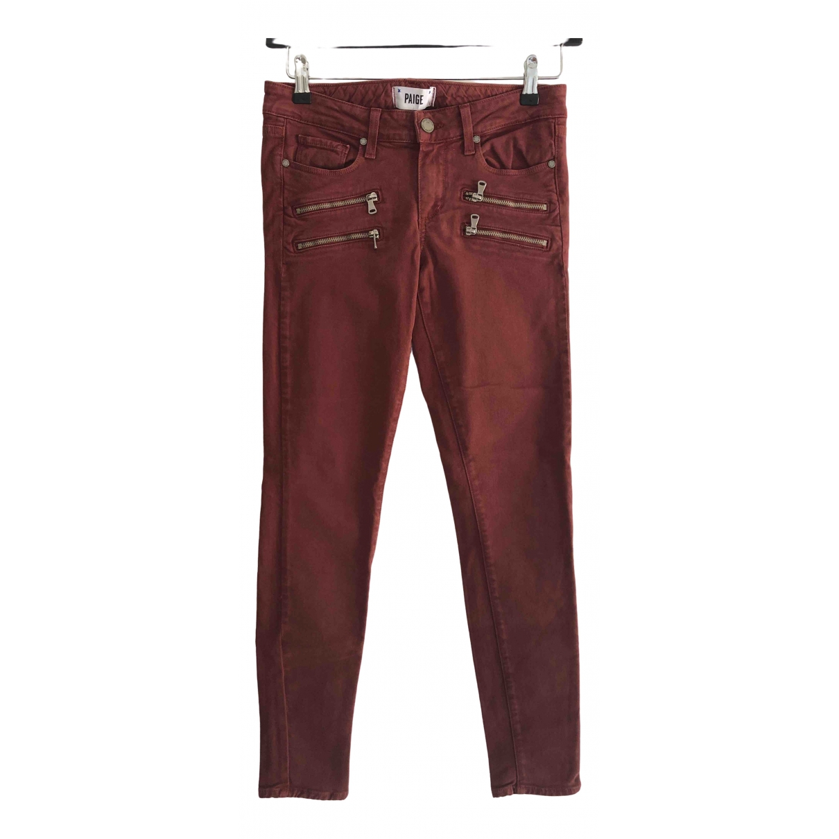 Paige Jeans \N Red Cotton Trousers for Women S International