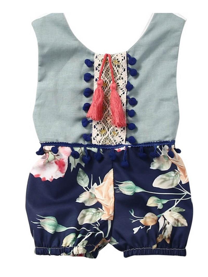 Ericdress Tassel Floral Baby Girls Short Rompers