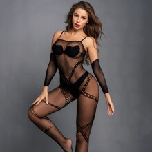 Fishnet Sheer Crotchless Bodystocking & 1pair Oversleeve