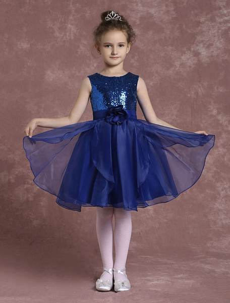 Milanoo Sequined Flower Girl Dresses Organza Pageant Dresses Toddler's Knee Length A Line Dinner Dress With Flower Sash
