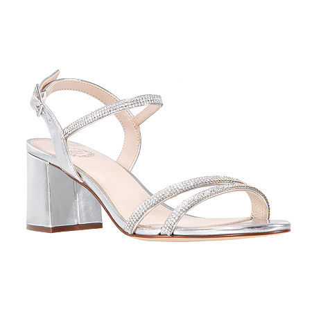 I. Miller Womens Nuela Heeled Sandals, 8 1/2 Medium, Silver