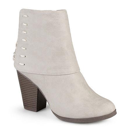 Journee Collection Womens Ayla Ankle Booties, 7 Medium, Beige
