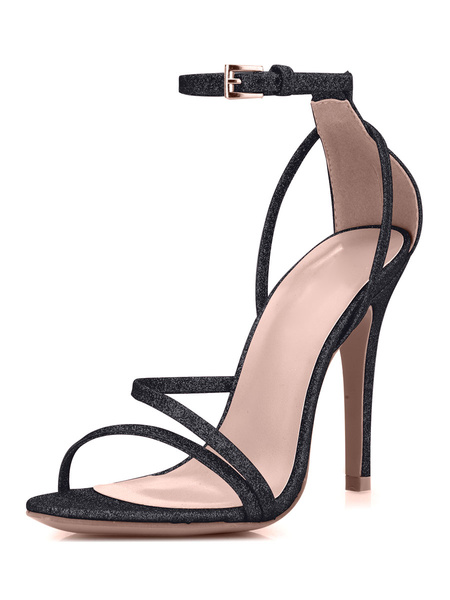 Milanoo Silver Prom Heels Glitter Strappy Sandals Wedding Shoes