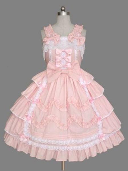 Milanoo Sweet Lolita JSK Dress Pink Sleeveless Ruffles Lolita Jumper Skirts
