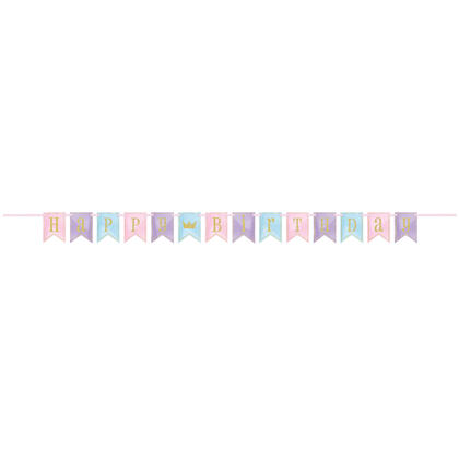 Glitter Magical Princess Birthday Pennant Banner, 7 ft For Birthday Party
