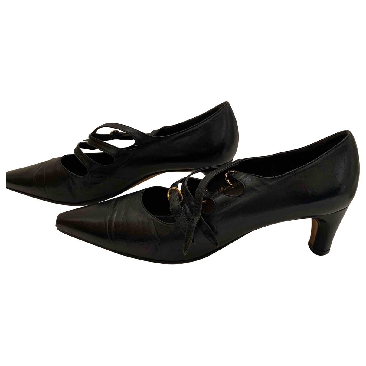 Gina \N Black Leather Heels for Women 5 UK