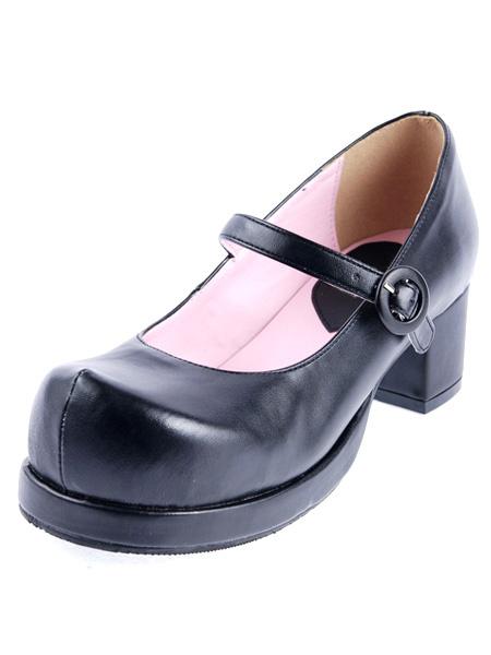 Milanoo Glossy Lolita Square Heels Shoes Chunky Heels Strap Round Toe