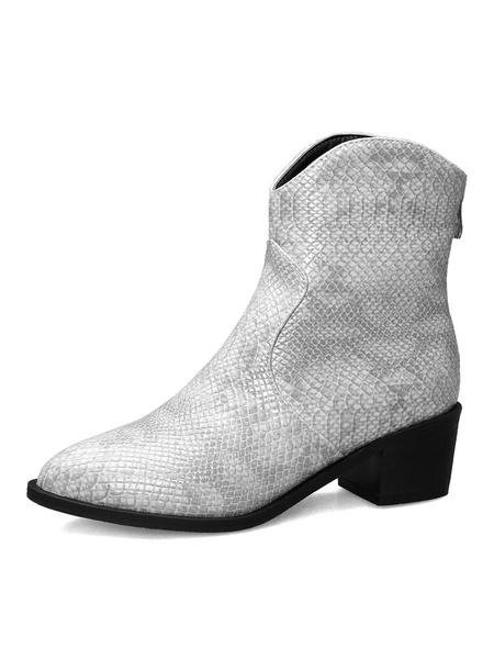Milanoo Women Ankle Boots Round Toe Snake Print Puppy Heel 2 Booties