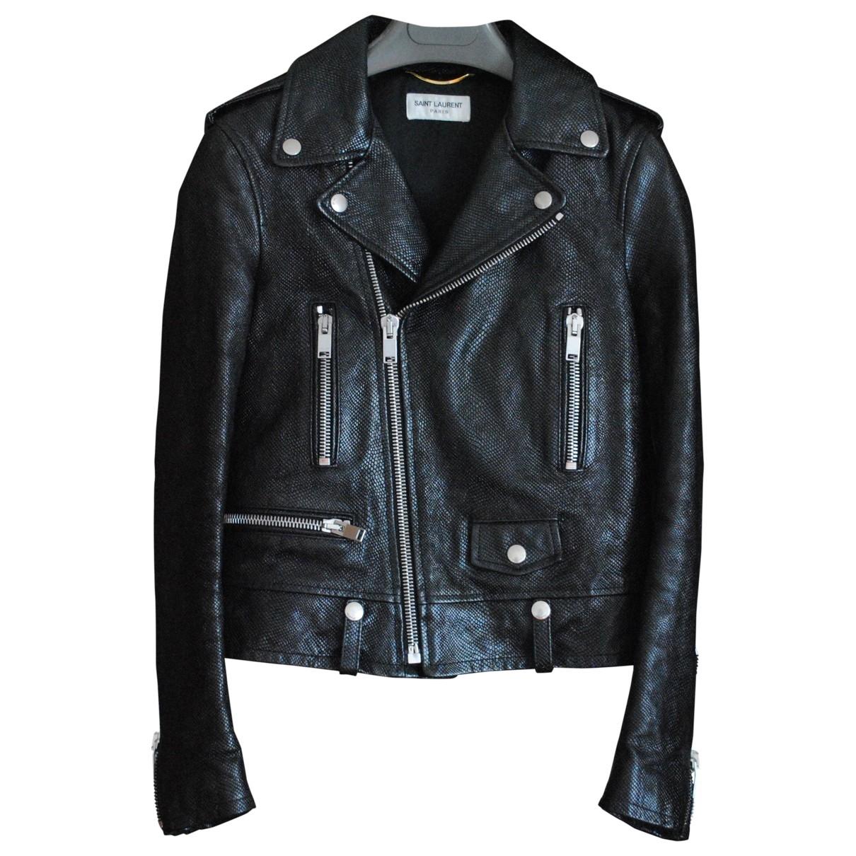 Saint Laurent \N Black Leather Leather jacket for Women 36 FR