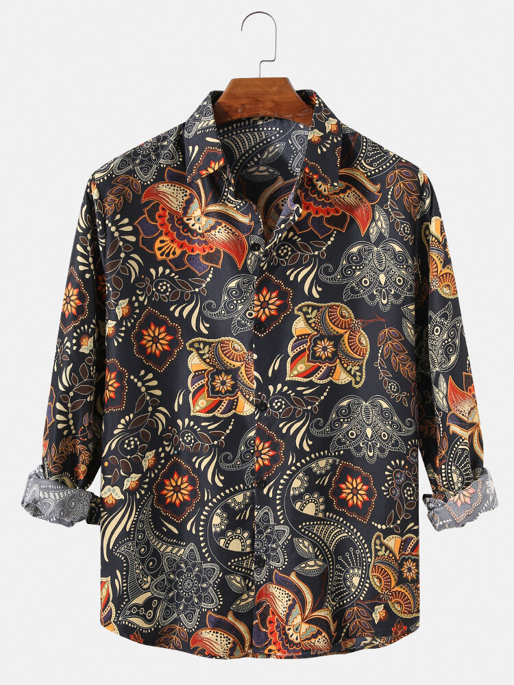 Mens Vintage Ethnic Floral Print Lapel Casual Fit Long Sleeve Shirts