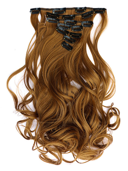 Milanoo Women Synthetic Wigs Brown Tousled Long Curly Hair Extensions