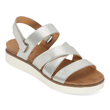 a.n.a Urika Womens Ankle Strap Footbed Sandals, 8 1/2 Medium, Silver
