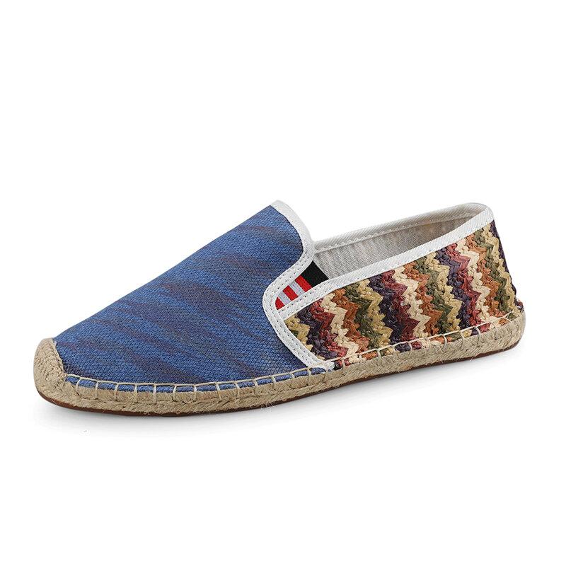 Men Woven Cloth Splicing Non Slip Casual Slip OnFisherman Shoes