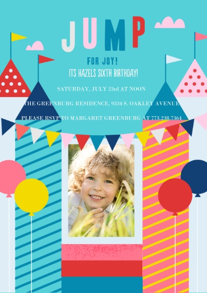 Kids Birthday Party Invites Flat Matte Photo Paper Cards with Envelopes, 5x7, Card & Stationery -Jump For Joy Invite