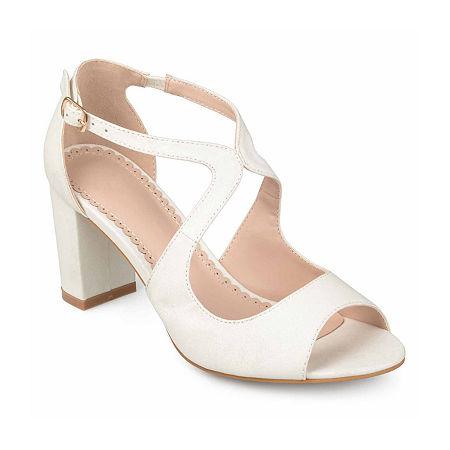 Journee Collection Womens Aalie Pumps Block Heel, 7 1/2 Medium, White