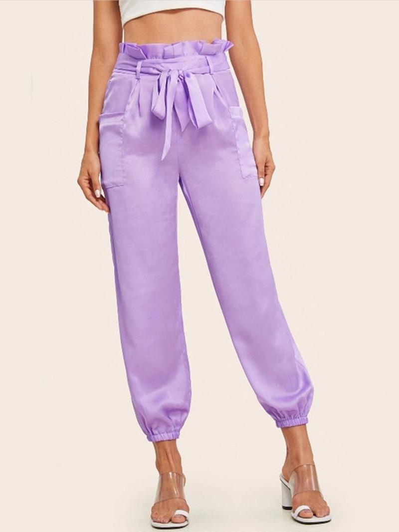 Ericdress Slim Lace-Up Plain Ankle Length Mid Waist Casual Pants