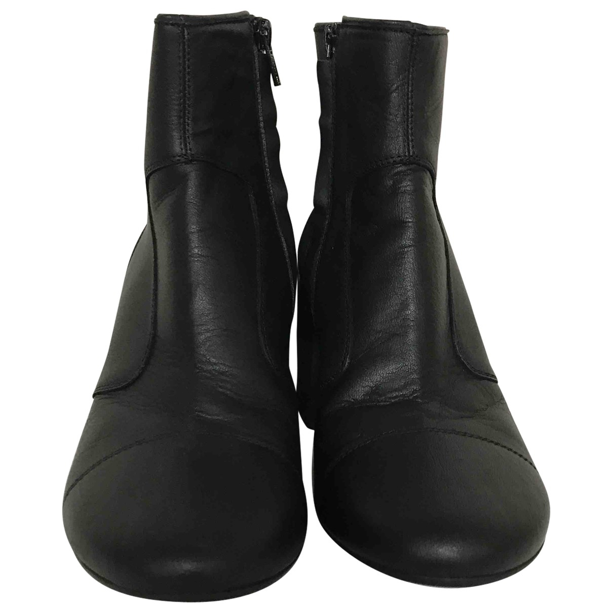 Mm6 \N Black Leather Ankle boots for Women 38 EU