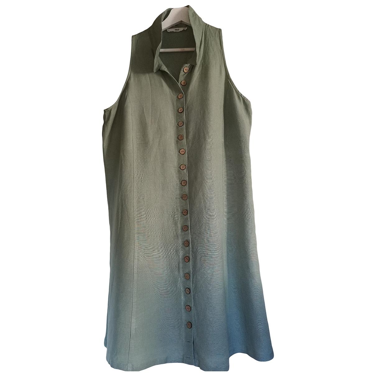 Mango \N Green Linen dress for Women 40 FR