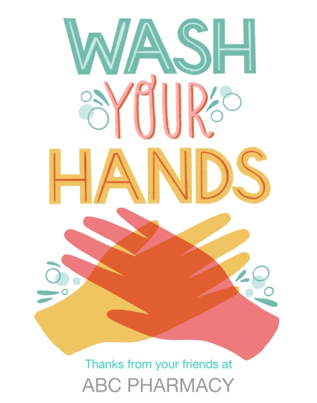COVID-19 11x14 Adhesive Poster, Home Décor -Wash Your Hands