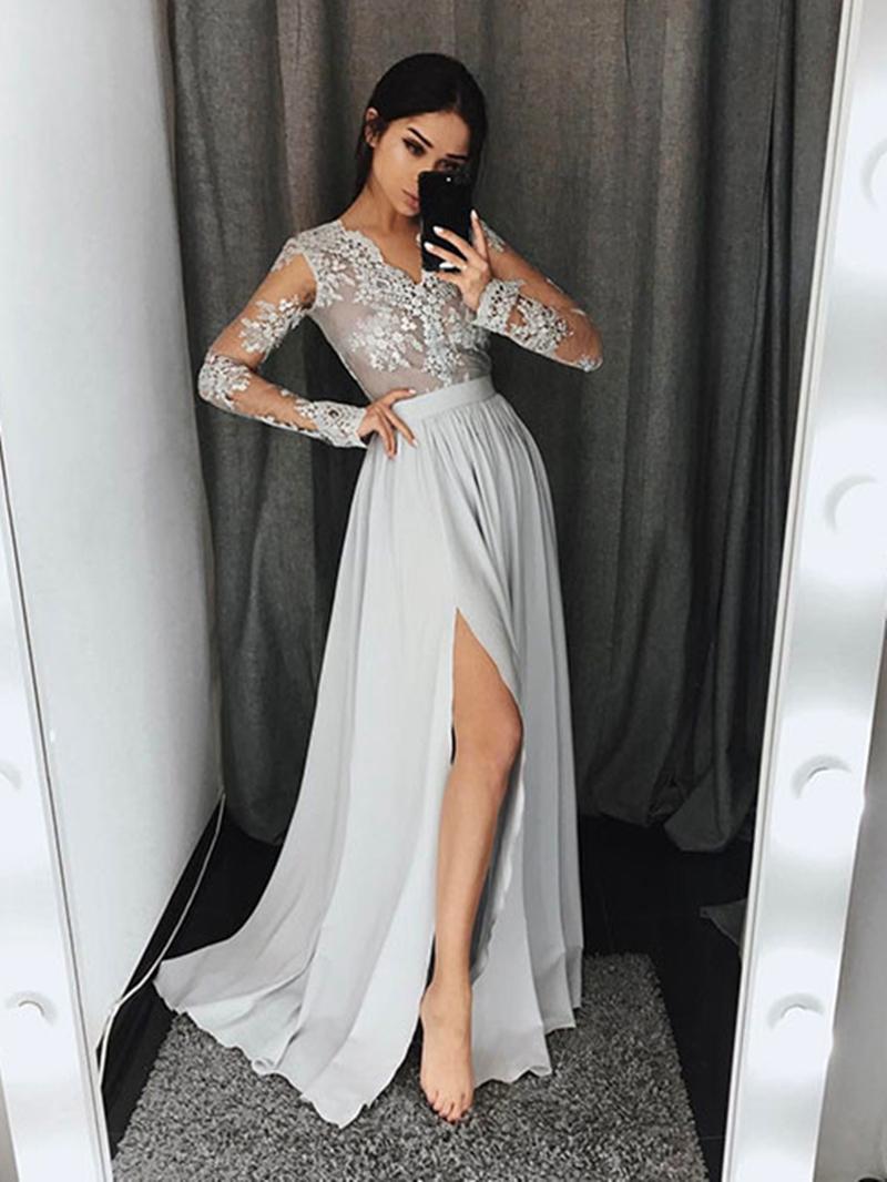 Ericdress Appliques Split-Front Long Sleeves Evening Dress