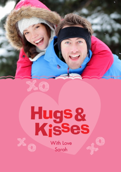 Valentine's Cards Flat Matte Photo Paper Cards with Envelopes, 5x7, Card & Stationery -Hugs & Kisses