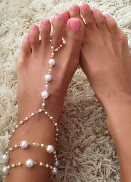 Milanoo Bohemian Wedding Shoes White Pearl Layered Anklets