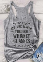 See The World Through Whiskey Glasses Tank - Gray