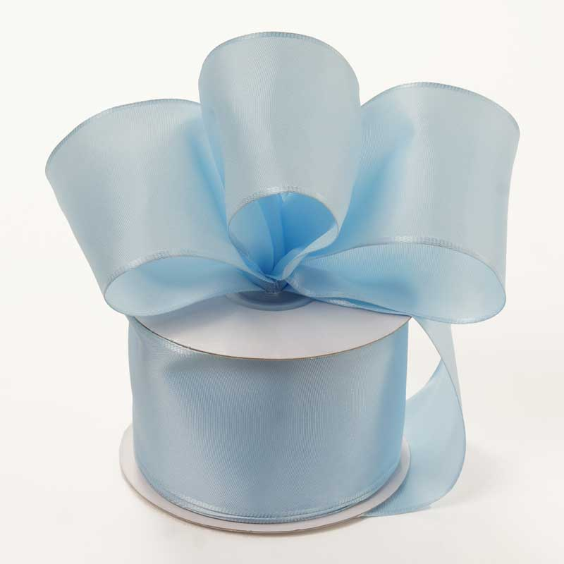 Grosgrain 2-1/2 X 25 Yards Light Blue Trevia Taffeta Wired Ribbon by Ribbons.com
